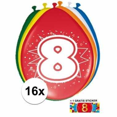 Versiering 8 jaar ballonnen 30 cm 16x + sticker