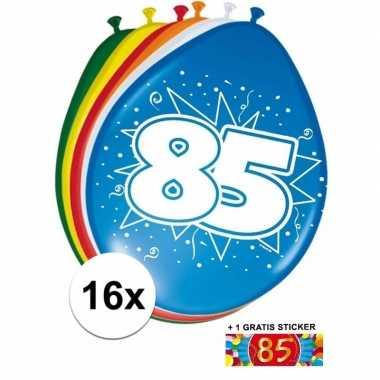 Versiering 85 jaar ballonnen 30 cm 16x + sticker