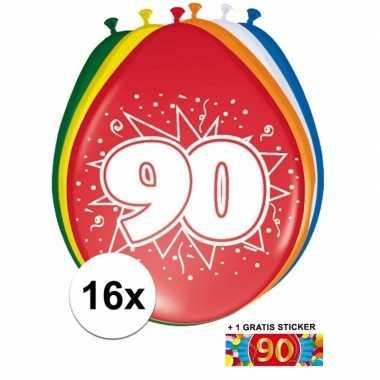 Versiering 90 jaar ballonnen 30 cm 16x + sticker