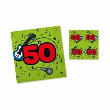Vijftig jaar servetten 33 cm groen