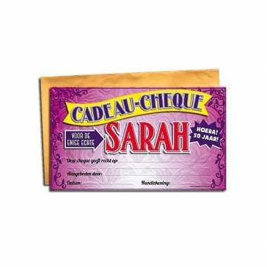 Voor de sarah gift cheque