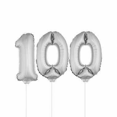 Zilveren opblaas cijfer 100 op stokjes