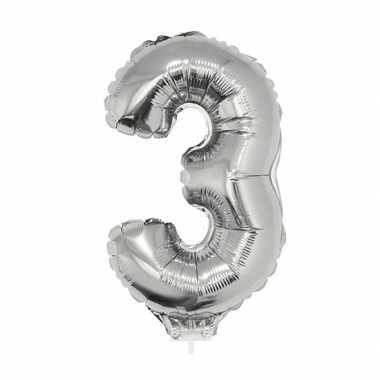 Zilveren opblaas cijfer ballon 3 op stokje 41 cm
