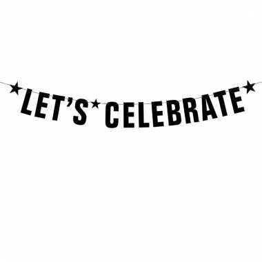 Zwarte banner feestslinger lets celebrate