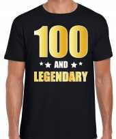 100 and legendary verjaardag cadeau t-shirt goud 100 jaar zwart voor heren