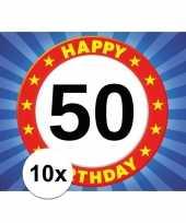 10x 50 jaar stopbord thema stickers 7 5 x 10 5 cm