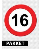 16 jarige verkeerbord decoratie pakket