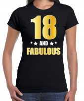 18 and fabulous verjaardag cadeau t-shirt shirt goud 18 jaar zwart voor dames