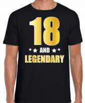 18 and legendary verjaardag cadeau t-shirt goud 18 jaar zwart voor heren