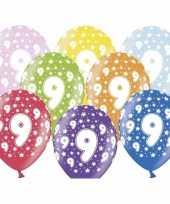 18x stuks ballonnen 9 jaar thema met sterretjes