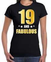 19 and fabulous verjaardag cadeau t-shirt shirt goud 19 jaar zwart voor dames
