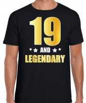 19 and legendary verjaardag cadeau t-shirt goud 19 jaar zwart voor heren