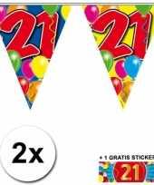 2 gekleurde vlaggenlijnen 21 jaar met sticker