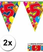 2 gekleurde vlaggenlijnen 5 jaar met sticker
