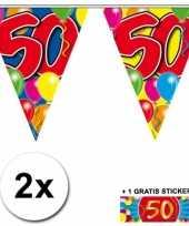 2 gekleurde vlaggenlijnen 50 jaar met sticker