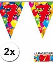 2 gekleurde vlaggenlijnen 7 jaar met sticker