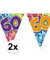 2 mini vlaggenlijn slinger verjaardag versiering 60 jaar