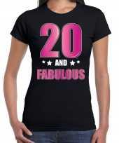 20 and fabulous verjaardag cadeau t-shirt shirt 20 jaar zwart voor dames