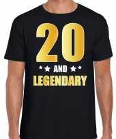 20 and legendary verjaardag cadeau t-shirt goud 20 jaar zwart voor heren