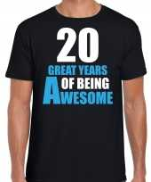 20 great years of being awesome verjaardag cadeau t-shirt zwart voor heren