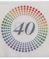 20x leeftijd 40 jaar themafeest verjaardag servetten 33 x 33 cm confetti