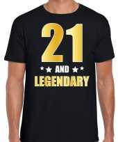 21 and legendary verjaardag cadeau t-shirt goud 21 jaar zwart voor heren