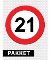 21 jarige verkeerbord decoratie pakket