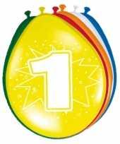 24x stuks versiering 1 jaar ballonnen 30 cm