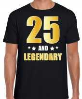 25 and legendary verjaardag cadeau t-shirt goud 25 jaar zwart voor heren