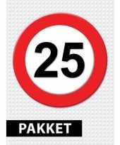 25 jarige verkeerbord decoratie pakket