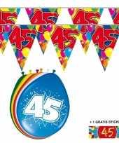 2x 45 jaar vlaggenlijn ballonnen