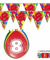 2x 8 jaar vlaggenlijn ballonnen