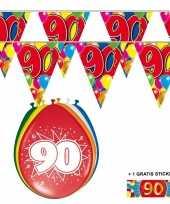 2x 90 jaar vlaggenlijn ballonnen