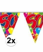 2x vlaggetjes lijn plastic 50 jaar 10 meter