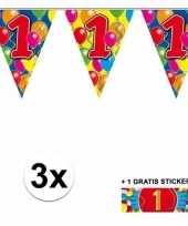 3 gekleurde slinger s 1 jaar met sticker