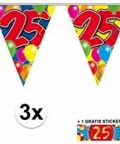 3 gekleurde slingers 25 jaar met sticker