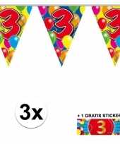 3 gekleurde slingers 3 jaar met sticker