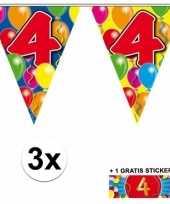3 gekleurde slingers 4 jaar met sticker