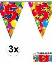 3 gekleurde slingers 5 jaar met sticker