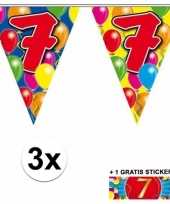 3 gekleurde slingers 7 jaar met sticker