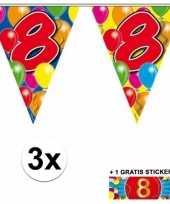 3 gekleurde slingers 8 jaar met sticker