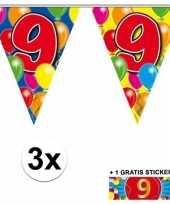 3 gekleurde slingers 9 jaar met sticker
