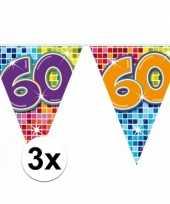 3 mini vlaggenlijn slinger verjaardag versiering 60 jaar