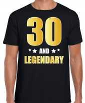 30 and legendary verjaardag cadeau t-shirt goud 30 jaar zwart voor heren