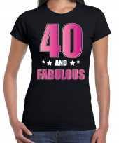 40 and fabulous verjaardag cadeau t-shirt shirt 40 jaar zwart voor dames