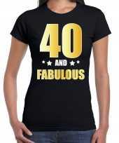 40 and fabulous verjaardag cadeau t-shirt shirt goud 40 jaar zwart voor dames