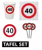 40 jaar tafel versiering pakket verkeersbord