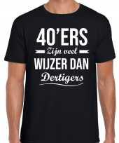 40ers zijn veel wijzer dan dertigers verjaardags t-shirt zwart voor heren
