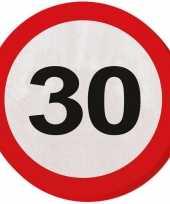 40x 30 jaar leeftijd themafeest servetten verkeersbord 33 cm ron