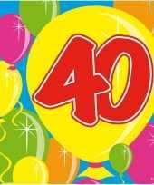 40x 40 jaar leeftijd themafeest servetten balloons 25 x 25 cm